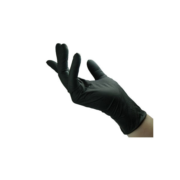 Examination Latex Gloves Black Color 100 Pieces Size S , M , L , XL